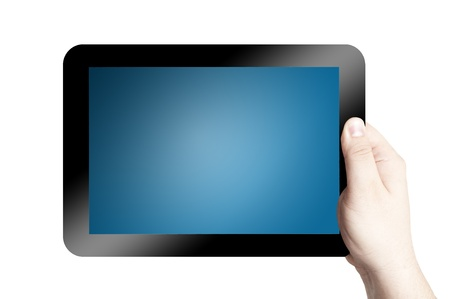 Hands holding and point on digital tablet isolated on white background Stock Photo - 12940022