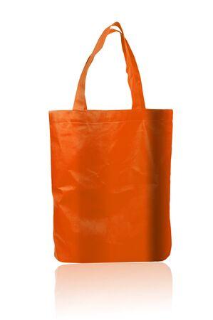 reusable: Orange reusable shopping bag Stock Photo