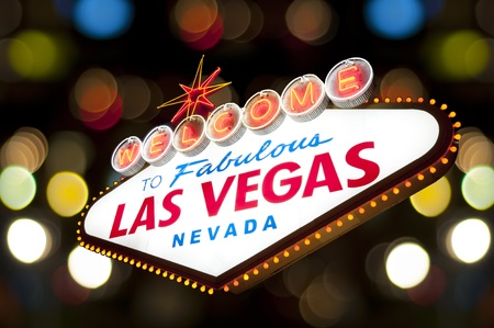las vegas night: Famous Las Vegas Welcome Sign with colorful bokey background