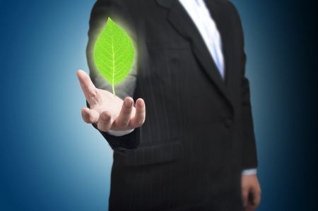 Business man with green plant  Concept for idea and GO green photo