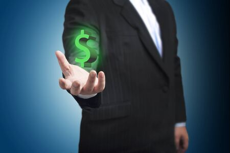 Business man with dollar sign floating on hand   Concept for business growth photo