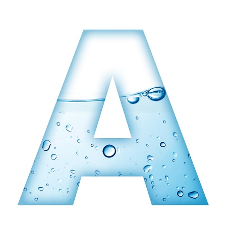 aqua effect: Alphabet letter made from water and bubble  Letter A