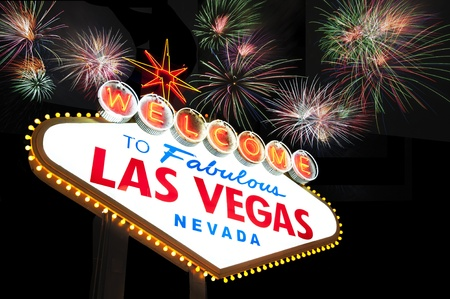 las vegas sign: Welcome to Las Vegas Sign with Fireworks in the background