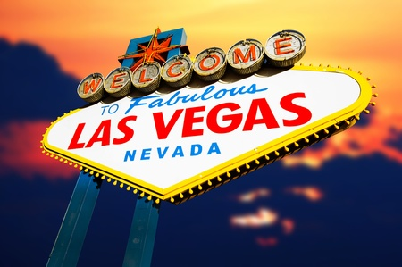 Welcome to Las Vegas Sign at twilight time