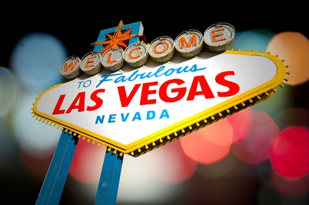 Welcome to Las Vegas Sign with bokeh of light in the background