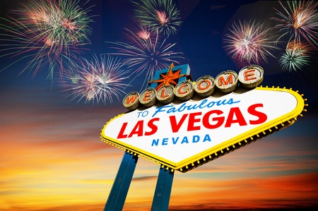 Welcome to Las Vegas Sign with Fireworks in the background photo