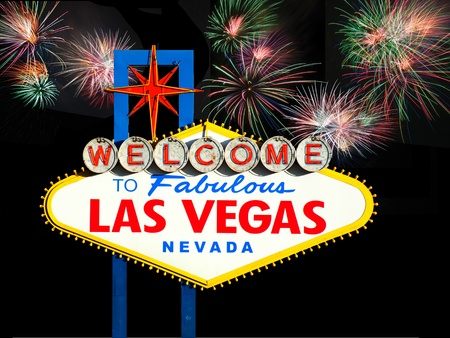 hotel casino: Welcome to Las Vegas Sign with Fireworks in the background
