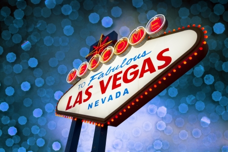 Welcome to Las Vegas Sign with bokeh of light in the background photo