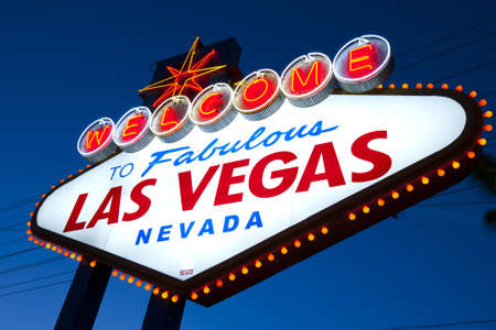 Welcome to Las Vegas Sign at twilight photo