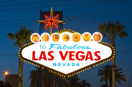 Las vegas sign at night photo