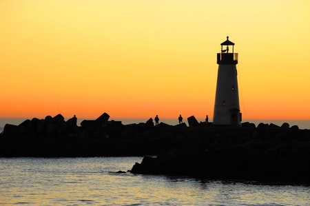 lighthouse at night: Windsurf and Silhouette Lighthouse