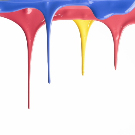 dripping paint: Paint dripping isolated on white background Stock Photo