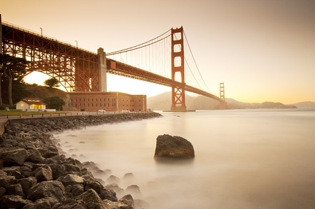 san francisco bay: Golden Gate bridge long shutter speed long exposure