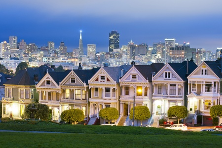 Alamo Square at twilight with clouds in the sky, San Francisco  photo