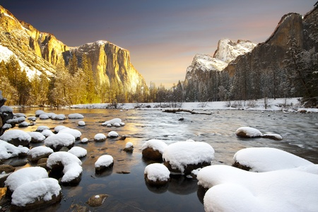 Yosemite National Park in Winter Valley View at sunrise photo