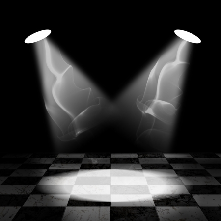 Spotlight with smoke on black and white checker floor Stock Photo - 14257077
