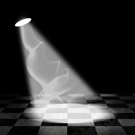 checkerboard: Black And White Check Grunge Room with spotlight and smoke Stock Photo
