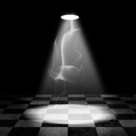 Black And White Check Grunge Room with spotlight and smoke Stock Photo - 13366144