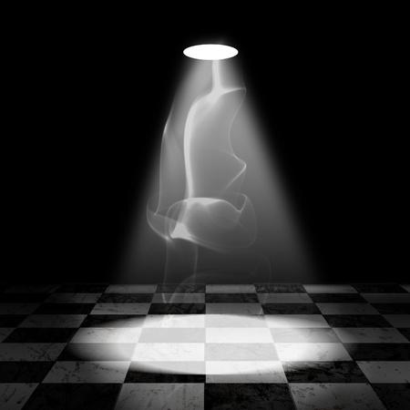 cuadros blanco y negro: Comprobar Blanco y negro Sala de Grunge con el proyector y el humo Foto de archivo