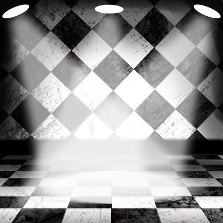 Black And White Check Grunge Room with spotlight and smoke Stock Photo - 13366154