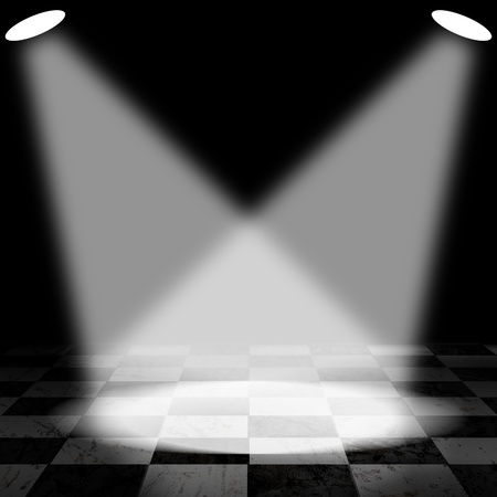 Black And White Check Grunge Room with spotlight and smoke Stock Photo - 13366141