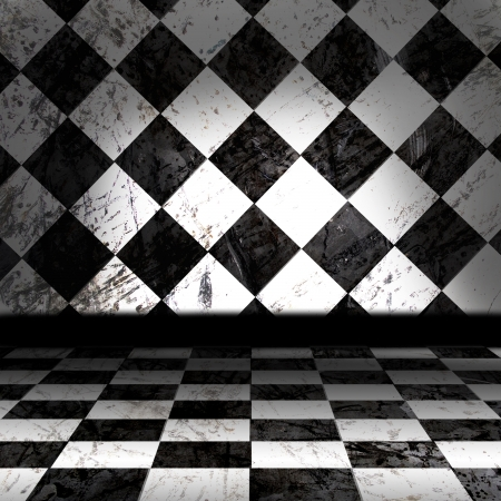 Black And White Checker Grunge Room photo