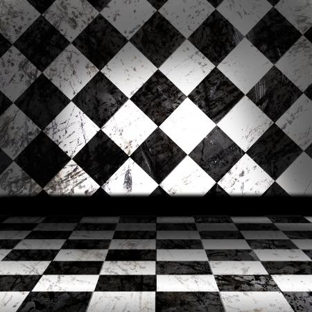 cuadros blanco y negro: Y Negro Checker White Room Grunge