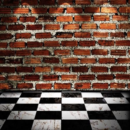 cuadros blanco y negro: Blanco y negro piso Checker con pared de ladrillo y la luz del punto