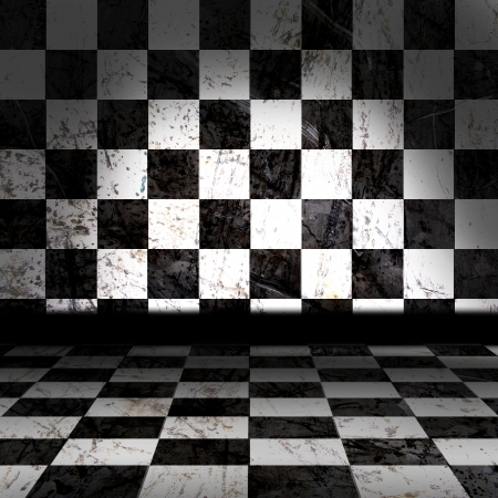 Black And White Checker Grunge Room Stock Photo - 14257153
