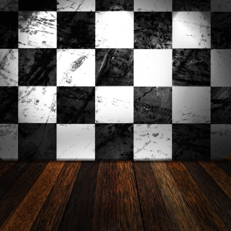 Room with wooden flow and black and white wall Stock Photo - 14257074