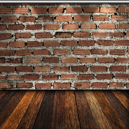 Wooden floor and brick wall in room Stock Photo - 14257147