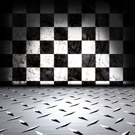 Metal floor and black and white wall photo