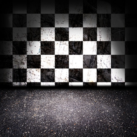 musical score: asphalt floor with checker wall in the background