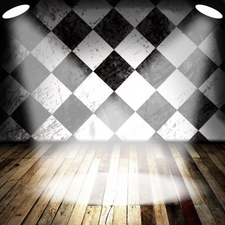 Spot light on wood floor and black and white wall Stock Photo - 14257155
