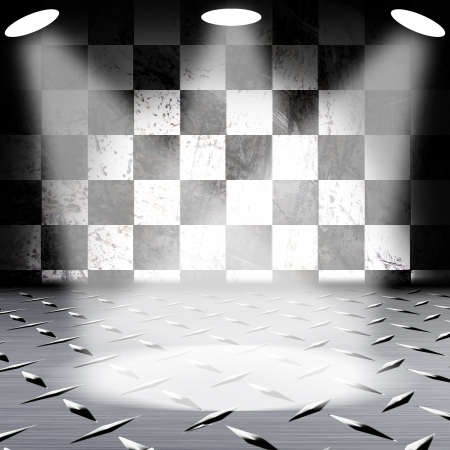 Grunge Black and white wall with metal floor Stock Photo - 14257071