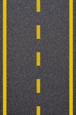 Asphalt road texture with yellow stripe photo