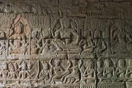 hindu god shiva: carving on the stone in Cambodia Editorial