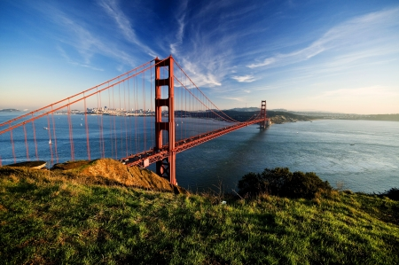 Golden Gate in clear blue sky with green grass as foreground  San Francisco, USA