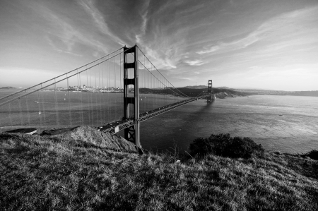 Golden gate bridge black and white photo