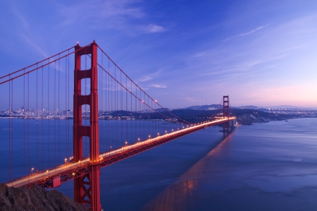 bridges: Golden Gate bridge at night Stock Photo
