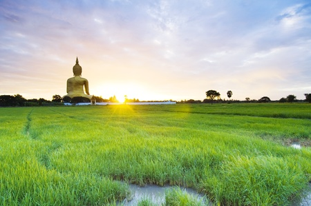 laos: Buddha Statue in Thailand on rural landscape  Stock Photo