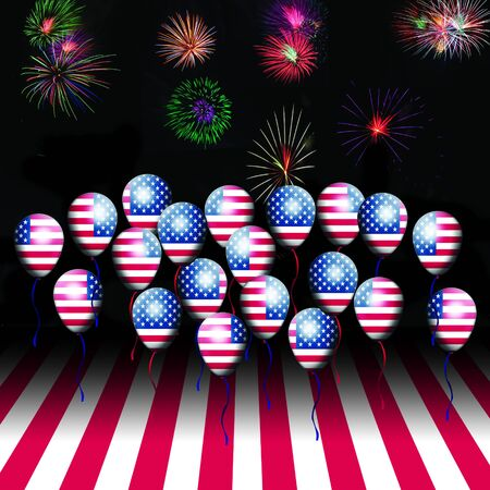 American flag balloon and american flag with fireworks photo