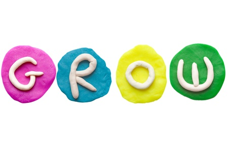 Alphabet letter using plasticine and clay  Forming word Grow Stock Photo - 13546261