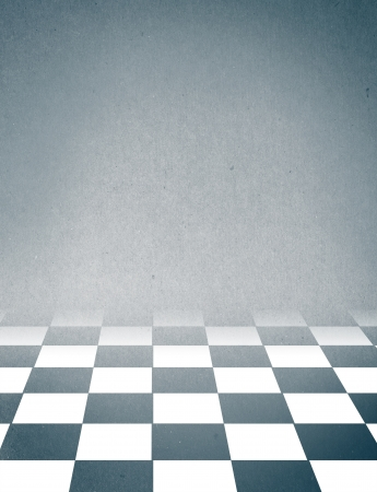 Black And White Checker floor Grunge Room  photo
