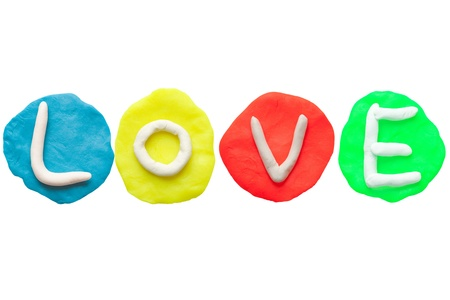 Alphabet letter using plasticine and clay  Forming word Love Stock Photo - 13546251