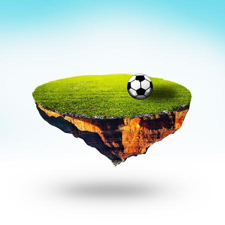 Floating planet with soccer ball