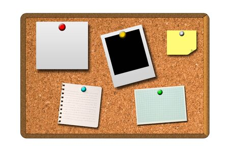 cork board: Blank photo, note, notepad and sticky on cork board background