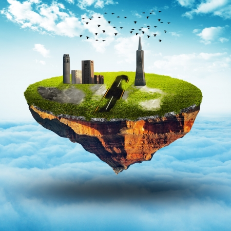 back ground: Floating land with building and bird on blue sky Stock Photo