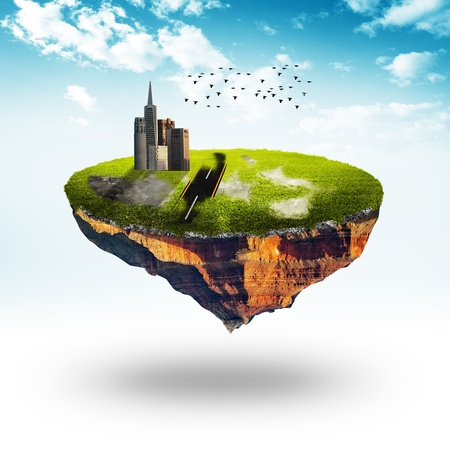 recluse: Floating planet with building and road  Detailed grass ground  On white fog with sky background