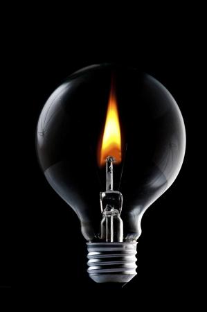 Fire inside lightbulb photo